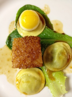 Top Chef Dinner with Hosea Rosenberg - Ginger Braised Pork Belly, Fava Bean Ravioli, and a Quail Egg