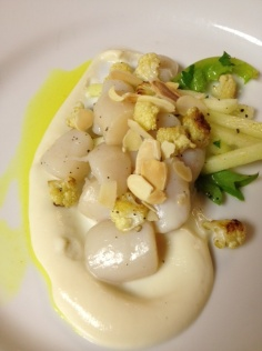 Top Chef Dinner with Hosea Rosenberg - Smoked Bay Scallops with Cauliflower and Apples
